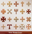 Set crosses wooden vector image