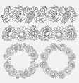 set of flower brushes and frames vector image