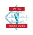 podcast station logo with microphone on vector image