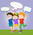 Three boys playing in the field vector image