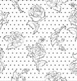 roses on dots seamless pattern vector image
