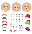Girl Avatars Constructor And Accessories vector image