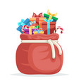 bag full gifts christmas new year winter holiday vector image