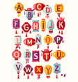 Chinese paper hanging lanterns alphabet vector image