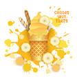 ice cream banana cone colorful dessert icon choose vector image