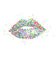 icons of female lips print vector image