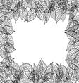 leaves frame black out line background vector image