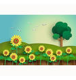 sunflower with alone tree vector image