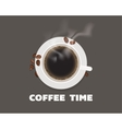 Cup of coffee with beans top view vector image