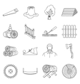 Sawmil and timber set icons in outline style Big vector image