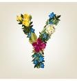 Y letter Flower capital alphabet Colorful font vector image
