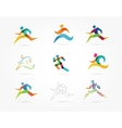 Running marathon people run colorful icon set vector image