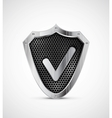 Metal shield with tick protection icon vector image vector image