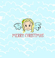 merry christmas background with cute cartoonish vector image