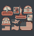 set of american symbols and landmarks with flag vector image