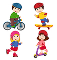 set of isolated children and sport vector image