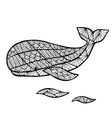 Stylized whale zentangle vector image