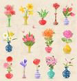 vintage collection lovely vases with bouquet of vector image