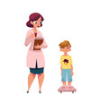 woman doctor measuring weight of boy child kid vector image