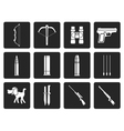 Black Hunting and arms Icons vector image vector image