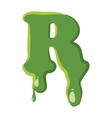 Letter R made of green slime vector image