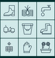 set of 9 farm icons includes growing plant vector image