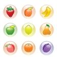 fruits button gray web 20 icons vector image