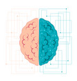 brain of artificial intelligence left and right vector image