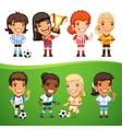 Cartoon Women Soccer Players Set vector image