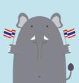 cute fat big elephant holding Thai flag vector image
