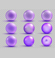 set of transparent and opaque purple spheres vector image