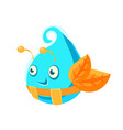 cute fantastic turquoise plant character in the vector image vector image