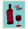 vintage poster bottle of red wine and glass vector image