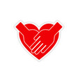 icon sticker realistic design on paper hands heart vector image