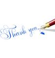 Thank you note fountain pen vector image vector image