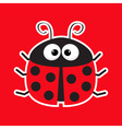 Cute cartoon lady bug sticker icon Red background vector image