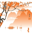 Mountain landscape in the Chinese or Japanese vector image
