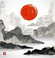 Landscape with mountains red sun and sea vector image