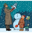 Children and male mold snowman vector image