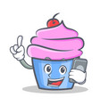 cupcake character cartoon style with phone vector image