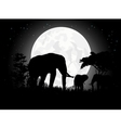 Elephant silhouettes with giant moon background vector image