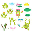 frogs cartoon clipart set vector image
