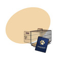 travel with cats dogs - metal wire carrier and vector image
