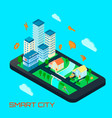 smart city isometric design concept vector image vector image