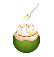 Coconut Ice Cream with Nuts and Jackfruit vector image vector image