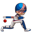 A male cricket player vector image
