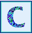 C - letter - Green Watercolor mosaic vector image
