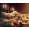 Dark castle in clouds Fairytale Fantasy landscape vector image