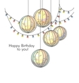 Stylish happy birthday card in romantic style with vector image