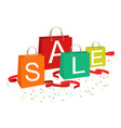 shopping bags and sale text vector image vector image
